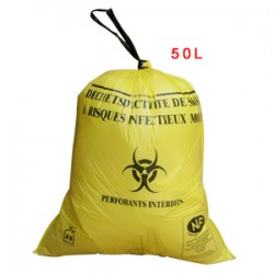Sac plastique jaune 50L standard pour D.A.S.R.I.