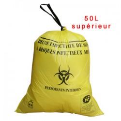 Sac plastique jaune 50L supérieur pour D.A.S.R.I.